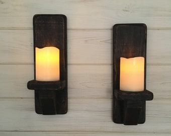 Wooden Candle Sconce - *PAIR* rustic decor,lighting