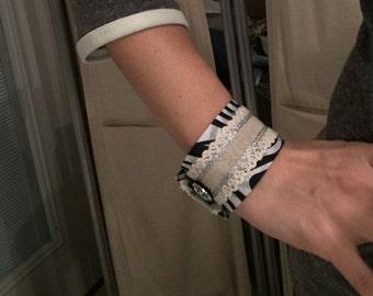 Zebra print/rugged lace cuff bracelet