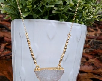 Beaded half circle druzy necklace gold filled