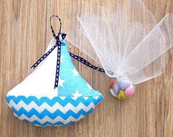80pcs Baptism/Christening Bombonieres - Plush Pillows ( Boat ). Favors with chocolate dragees