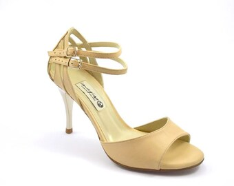 F-350 Open toe Tango shoe by beige leather Size:38