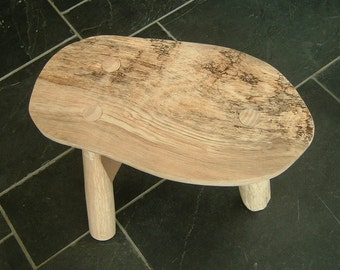 Spalted Ash fireside stool three legged stool milking stool rustic cottage stool