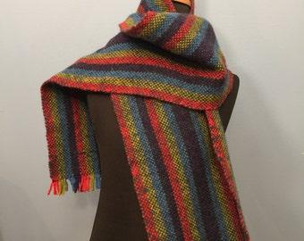Handwoven wool stripe scarf