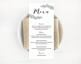 Wedding Menu Cards for Wedding Rustic Wedding Menu Template Wedding Reception Menu Template Wedding Dinner Menu Cards Template for Wedding