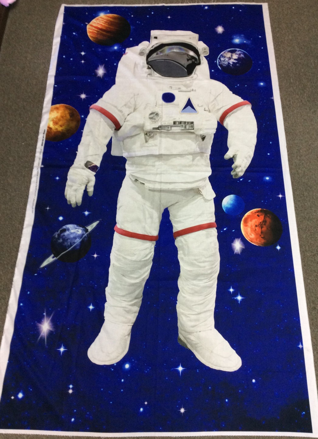 Astronaut panel space walk by northcott outer space fabric for Space fabric nz