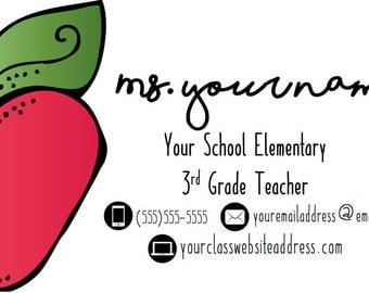 Personalized Teacher (or Substitue Teacher!) Business Cards