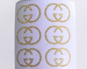 20 Glitter Gucci Inspired Stickers - Gucci Envelope Seals - Gucci Wall Stickers - Gucci Decals - Gucci Theme Party Decor - Glitter Stickers