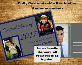 Custom Printable Graduation and Open House Invitation or Announcement (Two Sided)