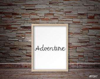 adventure sign, svg, awaits, kids room decor, bedroom decor, office decor, typography decor, typography print #P087