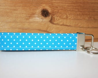 Keychain retro vintage dotted blue white lanyard