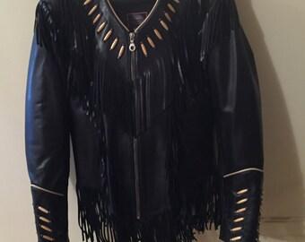Vintage leather fringed beaded black motorcycle jacket Womens medium size Milwaukee Motorcycle Co
