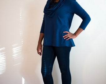 Blue Hooded Tunic or Top, Size Small, Medium and Large