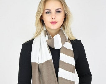 Striped Beige Off White Scarf / Spring Summer Scarf / Winter Scarf / Womens Scarves / Gift for her / Scarves and Wraps / Shawl Wrap Scarf
