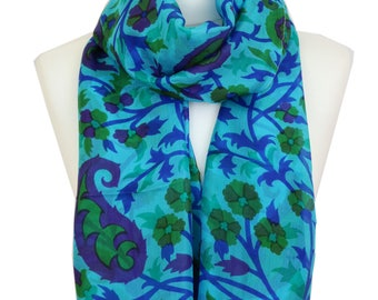 Silk Scarf / Paisley Blue Scarf / Blue Silk Scarf / Spring Summer Scarf / Womens Scarf / Gift for Women / Gift for Her / Fashion Accessories
