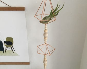 Hanging Copper Himmeli Garland • Air Plant Holder • Scandinavian • Geometric Decor
