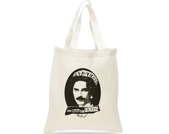 QUEEN Band Tote Bag, Cotton Canvas, Freddie Mercury Illustration, Queen Band, god save the queen, british rock, freddy mercury