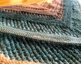 Handknitted triangular shawl Aurora