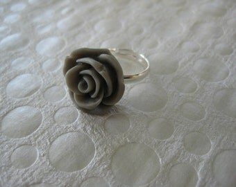 Girls Adjustable Ring, Adjustable Ring, Party Favors, Gift, Girls, Teens, Gray, Rose Ring /61