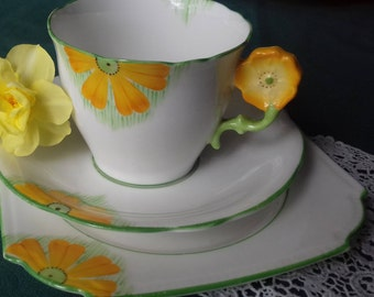 FLOWER-HANDLE Aynsley  tea Cup  saucer & square  side plate trio  - vintage bone china a/f