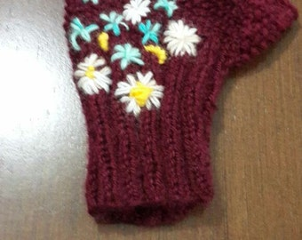 Womens gloves half finger hand made