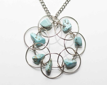 Necklace Mandala Turquoise. Dynamic wire Mandala. Handmade. German silver.