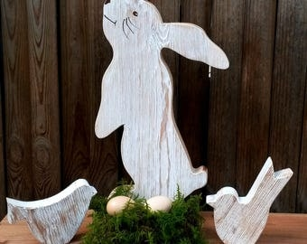 39 cm Easter Bunny Easter Easter decor wood rabbit spring Easter egg gift
