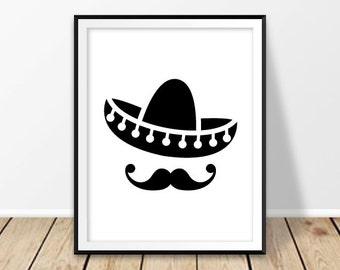 sombrero hat print mexico digital print mexican hat mustache cinco de mayo el sombrero mexican home decor new mexico cancun wall art poster: new mexico home decor