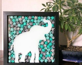 Elephant Shadow Box, Elephant Decor, Elephant Home Decor, Elephant Wall Art, Origami Shadow Box, Origami Art, Good Luck Elephant, Trunk Up