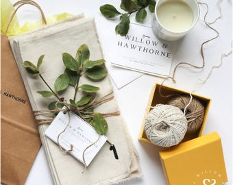 Cotton Napkins | Cloth Napkins | Drop Cloth Napkins | Black Painted Numbers |  Hostess Gift | Housewarming Gift | Wedding Gift