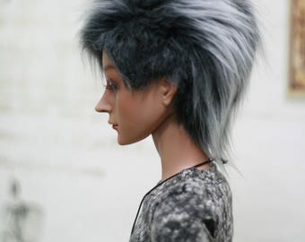 BJD Wig Mohican Black&White 9-10 8-9 7-8 6-7 inch Synthetic Fur Wig