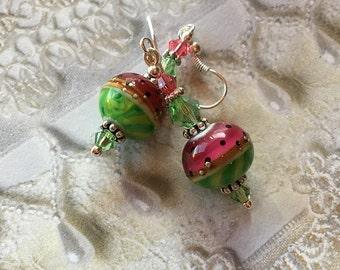 Watermelon Lampwork Earrings, Summer Earrings,Lampwork Earrings, Lampwork Jewelry, Gift For Her, SRA Lampwork Jewelry