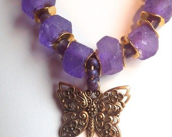 Purple Frosted Hand-Cut Large Indonesian Necklace Set