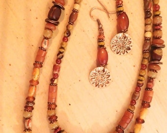 Double Strand Yellow/Orange/Brown Gemstone Necklace Set