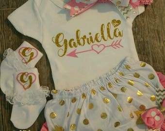 Personalized, Monogramed, Baby Girl Pink & Gold Newborn Onesie, Bloomers, Headband and Socks, Baby Shower Or Coming Home Outfit