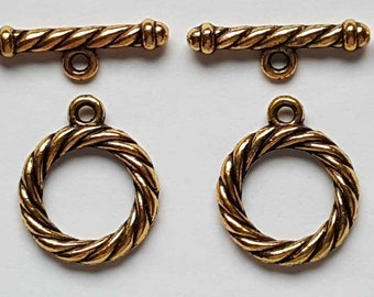 20mm antique gold finish lead/nickel free rope styoe toggle clasp