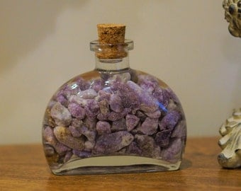 """4"""" Glass Bottle filled with Purple Lepidolite from California for display, specimen, crystal healing."""