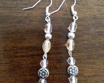 Dangle stone & flower earrings