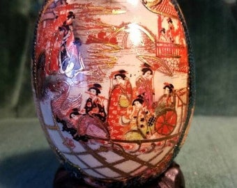 Vintage Chinese Hand Painted Egg