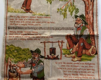 Vintage Waltzing Matilda tea towel