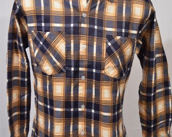 NEW Vintage 1980s Deadstock Cascade Size Medium Blue Yellow Plaid Long Sleeve Button Front Shirt