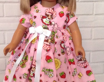 """Pink Strawberry Shortcake dress for 18"""" doll"""