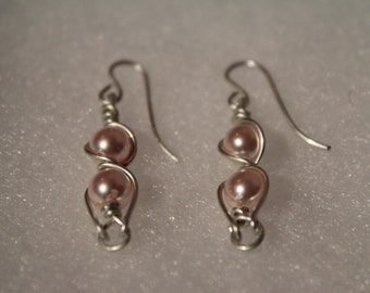 Becca Sterling Silver Earrings with baby pink Swarovski beads