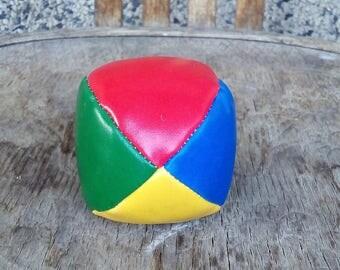 Footbag Ball, Vintage Footbag Game Ball, Vintage Leather Ball, Small Footbag Ball, Colourful Footbag Ball.