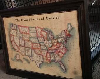 Framed Push Pin World Map-Custom Handmade U.S. Frame; Color Scheme Options for Frame and Map; 24 x 36