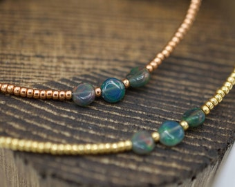 Australian Opal and Gold Tone Beaded Necklace