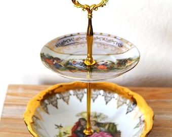 OOAK Vintage Upcycled Tidbit Tray, Victorian Tidbit Tray, Jewelry Tray, Vanity Tray