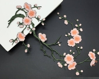 Plum Blossom Embroidery Iron On patch