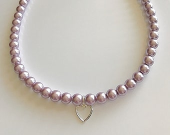 Pearl Necklace, Swarovski Crystal Pearls, Sterling Silver Heart.  Pearls are available in Lavender, Rose Gold, White, and Blue.
