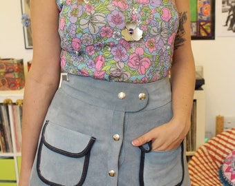Vintage 60s 70s blue suede button front skirt S