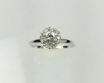 Vintage 1960's diamond halo engagement ring .25ct
